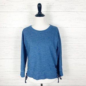 J. Crew • Indigo Lace Up Sweatshirt